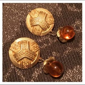 Vintage Gold & Orange Bead Studded Earrings